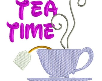 Tea Time Machine Embroidery Pattern