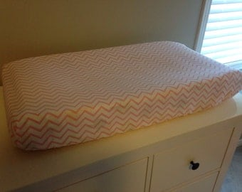 SALE Changing Pad Cover - pink chevron