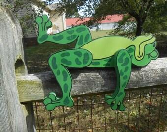 Big Green Wooden Lazy Frog for Garden or Shelf
