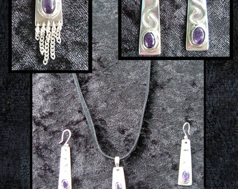 Amethyst earrings & pendant set 925 sterling silver