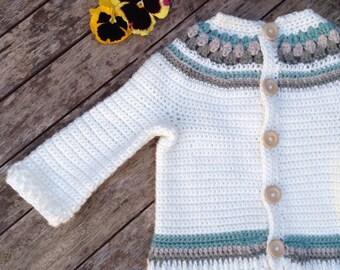 Baby crochet knit fairisle yoke scandinavian style cardigan