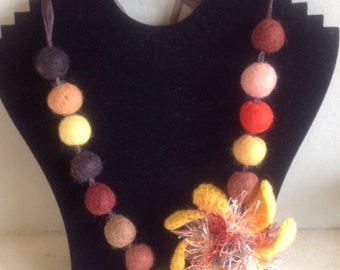 Clearance - Yellow crochet flower ribbon necklace
