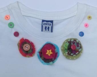 Clearance - Girls applique flower necklace T-shirt - 3T
