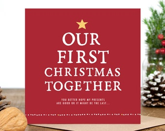 Funny Christmas Card - Card for Boyfriend - Card for Girlfriend  - Card for Husband Wife - Card For Best Friend - First Christmas Together