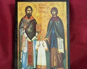 Santa Claus, St Raphael, St Irene,Wooden Christian Icon Print, Greek Orthodox Art, Russian Icon print, Christian Decor,