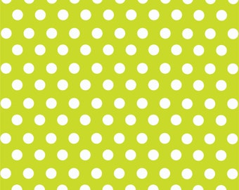 Lime with white polka dot pattern craft  vinyl sheet - HTV or Adhesive Vinyl -  medium polka dots HTV1602