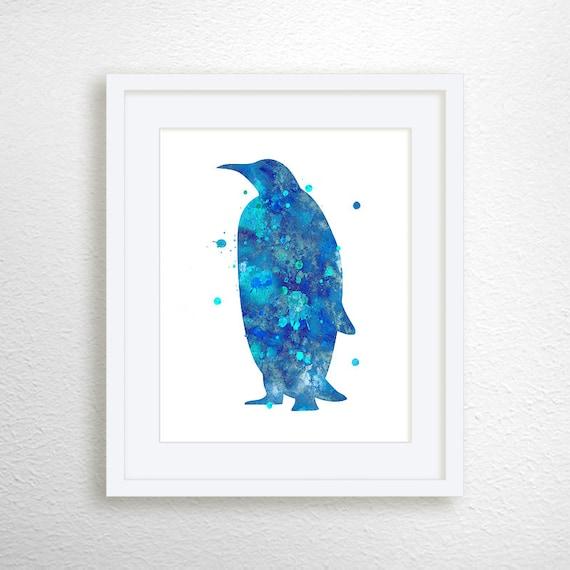 Penguin Art Print, Watercolor Penguin, Penguin Painting, Nursery Art Print, Penguin Illustration, Penguin Wall Art, Penguin Poster, Decor