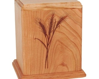 Cherry Wheat Wood Cremation Urn