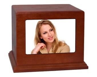 Cherry Horizontal Photo Wood Cremation Urn
