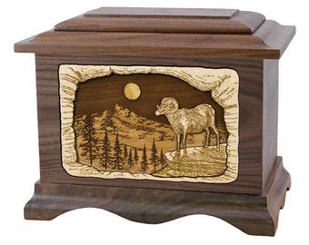 Walnut Ram Ambassador Wood Cremation Urn