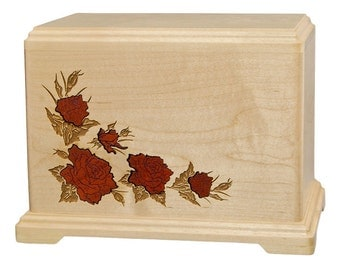 Companion Maple Inlay Roses Wood Cremation Urn