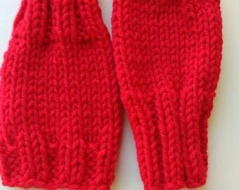 Red children fingerless gloves  Wrist warmers  Stocking stuffers.