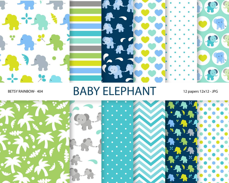 Scrapbook paper baby - Baby Elephant Digital Paper Elephant Scrapbook Paper Baby Digital Paper Scrapbook Supplies Br 404