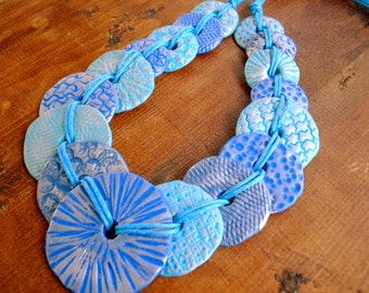 Polymer Clay Jewelry Blue Beads Necklace on Cotton Cord Handmade