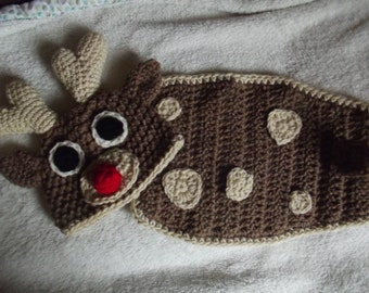 Handmade Crochet Baby Rudolph Red Nosed Reindeer Beanie and Back Cover Two Piece Set