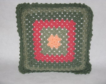 Hand crocheted square pillow shades green pink vintage
