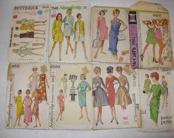 Lot of 8 vintage dress patterns 1960's Butterick McCall's Simplicity misses sizes