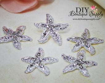 Starfish Rhinestones button Crystal Buttons Flatback Metal Embellishment Bridal Wedding Supplies flower centers 5 pcs 23mm 156038