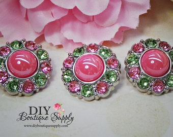 Spring Green and Pink Pearl Buttons Pink Rhinestone Buttons Embellishments Hair Bow Flower Centers Buttons Craft Supplies 25mm 836035