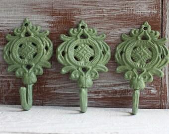 Sage Green Wall Hooks, Decorative Hooks, Towel Hooks, Cast Iron Hooks, Key Hooks, Bathroom Hooks, Jewelry Hooks, Nursery Hooks, Set of 3