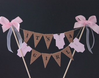 Baby shower cake topper, baby shower cake bunting, baby cake banner, cake flags, christening cake, baptism cake. it's a girl cake cecoration