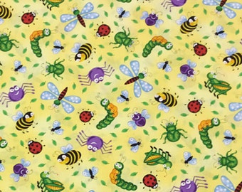 Bugs Everywhere Fabric by Timeless Treasures | cotton fabric by the yard | quilting fabric | fabric for children | fabric with bugs