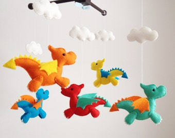 Baby Mobile, Crib Baby Mobile, Nursery Decor, Dragons mobile, Baby Mobile, Felt mobile