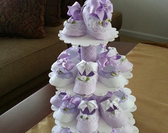 Lavender And White Shoe Favors With Stand / Unique Baby Shower Centerpiece / Baby Girl Favors