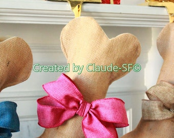 PINK Personalized Christmas Stocking, Unique Dog Bone Stocking, Pet Gifts, Stocking for Girl, Large Pink Burlap Bow, Handmade with Love!