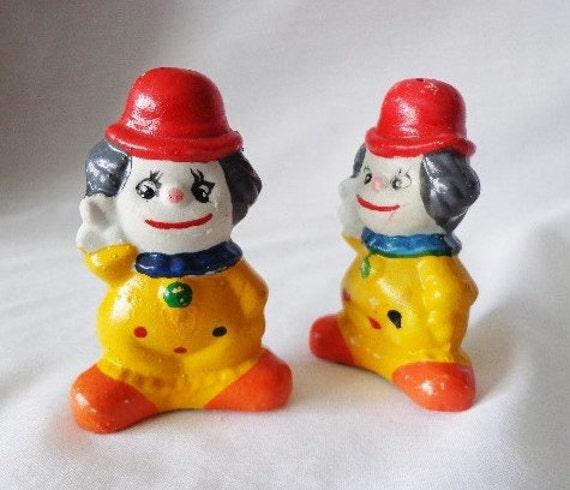 Salt And Pepper Shaker Set Cute Clowns