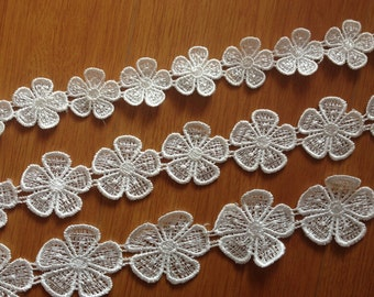 2 Yards- 2015 New Off White Flower Lace Trim, Floral Venise Lace Trim, Victorian Lace Trim, Flower Lace Trim