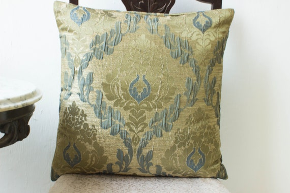Steel Blue Throw Pillows : Items similar to Mediterranean Damask Silk Pillow Cover 18x18, Steel blue on vintage gold accent ...