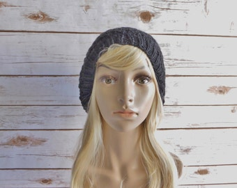 Knit Slouchy Hat-Women Hat-Winter Hat-Knit Hat-Knit Teen/Adult Hat-Knit Black Hat-Fall Fashion Accessory-Hand Knit Hat -Knit Beanie