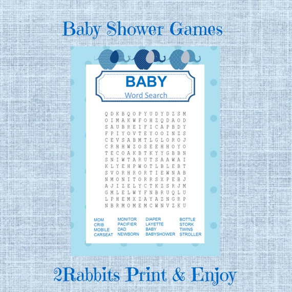 elephant boy baby shower word search game baby shower crossword puzzle