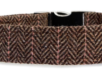Noddy & Sweets Adjustable Metal Clasp Collar [Herringbone Tweed BB]