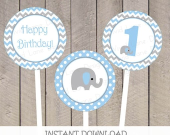 Blue and Grey Elephant 1st Birthday, Cupcake Toppers, Polka Dots, Chevron, Boy 1st Birthday, Printable, 1st,  INSTANT DOWNLOAD - 5043