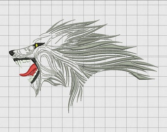 Wolf Head Detailed Embroidery Design in 4x4 and 5x7 Sizes