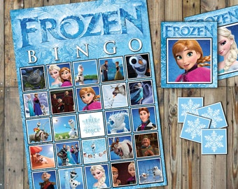 Frozen Bingo Theme - 20 different Bingo Cards - With Calling Cards & Markers -  INSTANT DOWNLOAD