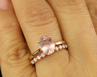 Alaina & Brooke Set - Morganite Engagement Ring and Diamond Wedding Band in Rose Gold, Oval Cut Solitaire, Single Shred Prong, Free Shipping