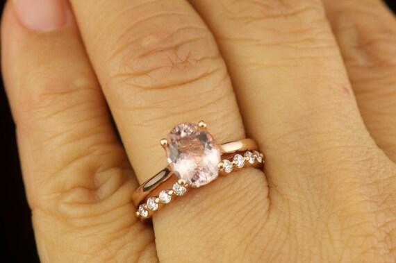 Alaina Amp Brooke Set Morganite Engagement Ring And Diamond