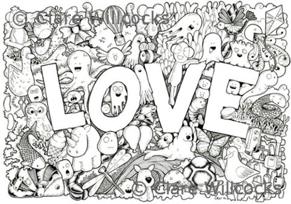 items similar to adult colouring book page love one page instant pdf download also suitable for children on etsy - Adult Coloring Book Pdf