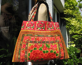 Tote bag, multicolor ethnic shopping bag, 8