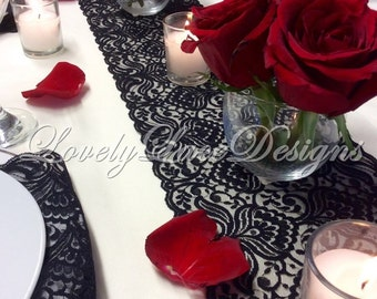 Black Lace Table Runner, 12ft-20ft x 6.5in Wide, Black Wedding Table Runner, Vintage, Overlay/Tabletop Decor/Wedding Decor