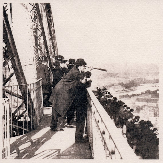 Traditional Old School Made Photograph, Eiffel Tower Decor, Paris Scene, Cyanotype, Vintage Look, Darkroom Photo, 5x5 Sepia, Ribba