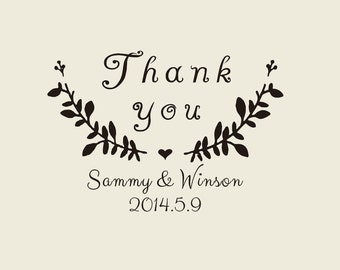 """custom  Stamps ( 2"""" x1.6"""" ) -    Custom rubber Stamp -thank you custom rubber stamp for personalized flower seed wedding favors"""