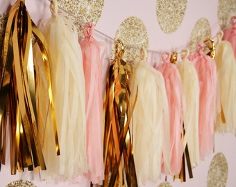Pink Gold Garland, Pink Tissue Tassel Garland gold, Pink Banner, Paper Tassels, blush gold decoration, baby shower banner, birthday banner