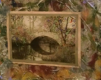 Original Mixed Media Collage - Under the Bridge