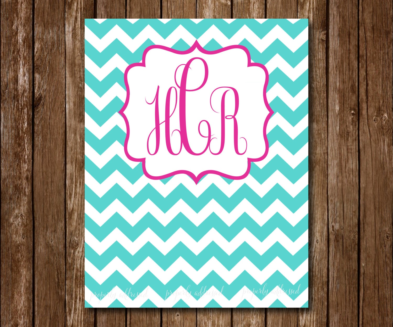 Chevron Monogram Custom Binder Cover Teal And By
