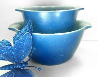 Blue Mixing Bowls Cinderella Nesting Bowls by Fire King Anchor Hocking