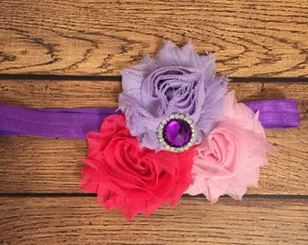 Shades of pink and purple shabby flower headband